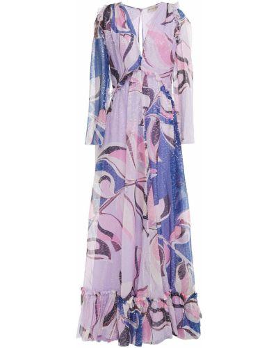 Фиолетовое шелковое платье макси с подкладкой Emilio Pucci