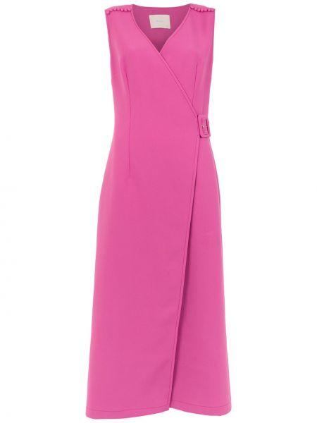 Платье миди розовое с запахом Framed