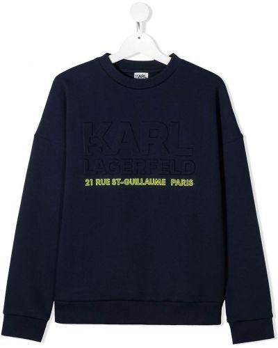 Хлопковый синий топ с круглым вырезом круглый Karl Lagerfeld Kids