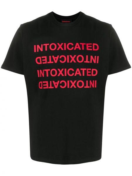 Czarny t-shirt bawełniany z printem Intoxicated