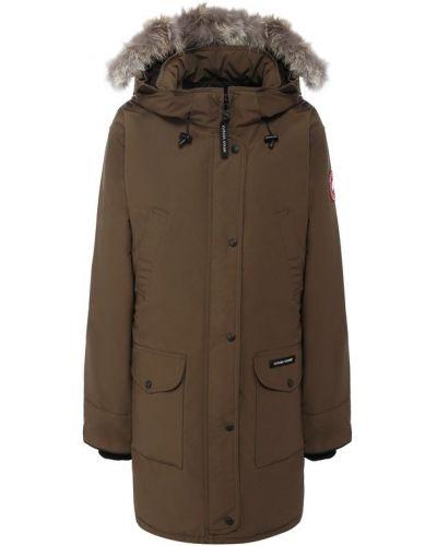 Куртка с капюшоном с мехом хлопковая Canada Goose