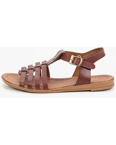 Коричневые кожаные сандалии Defacto