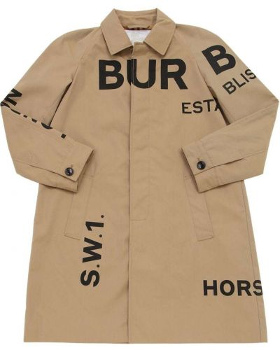 Beżowy płaszcz bawełniany z raglanowymi rękawami Burberry