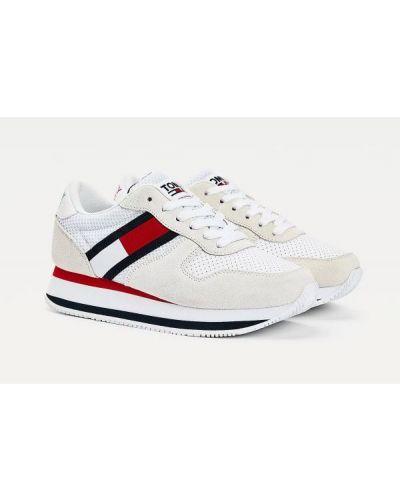 Ażurowe białe tenisówki skorzane Tommy Jeans