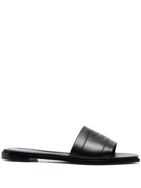 Кожаные черные слиперы на каблуке Alexander Mcqueen