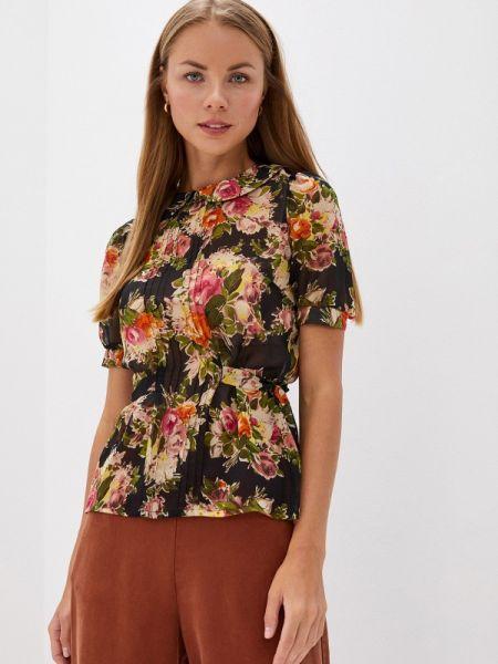 Черная блузка с коротким рукавом Арт-Деко