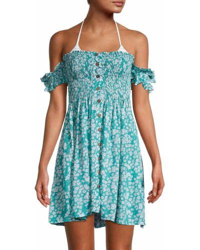 Синее платье мини с короткими рукавами с декольте Tiare Hawaii