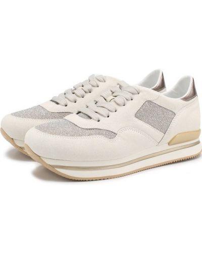 Кроссовки на шнуровке комбинированные Hogan