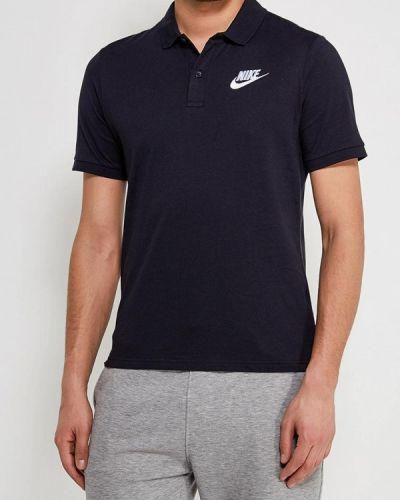 Черное поло с коротким рукавом Nike