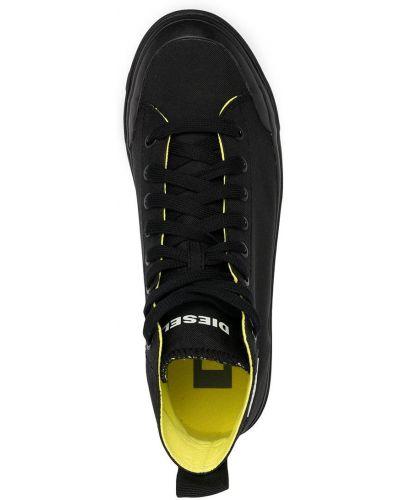 Черные высокие кеды на шнуровке с нашивками Diesel
