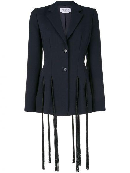 Шерстяной приталенный синий пиджак Gabriela Hearst