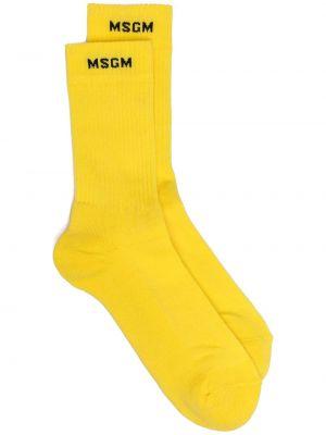 Prążkowane żółte skarpety bawełniane Msgm