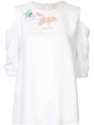 Блузка с открытыми плечами - белая Delpozo