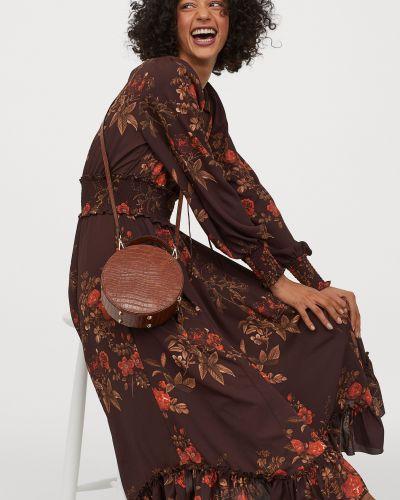 Шифоновое платье макси - коричневое H&m
