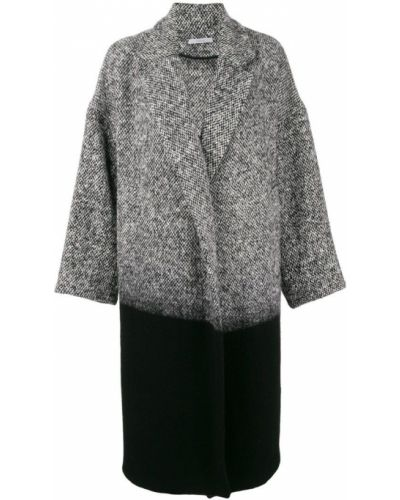 Шерстяное черное длинное пальто с капюшоном Dusan