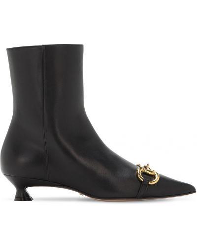 Czarny buty na pięcie z prawdziwej skóry na pięcie prążkowany Gucci