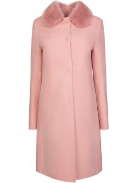 Шерстяное розовое пальто с воротником на пуговицах Ermanno Scervino