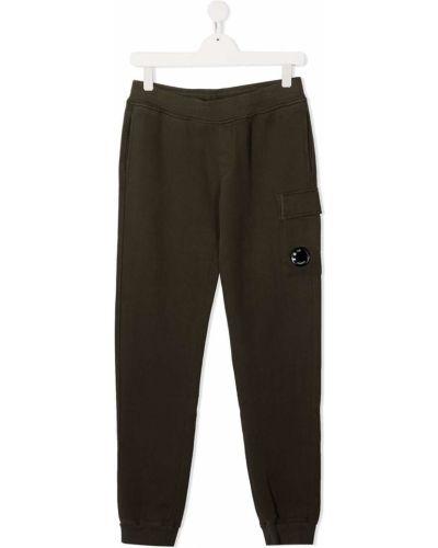 Хлопковые зеленые брюки карго с поясом узкого кроя Cp Company Kids