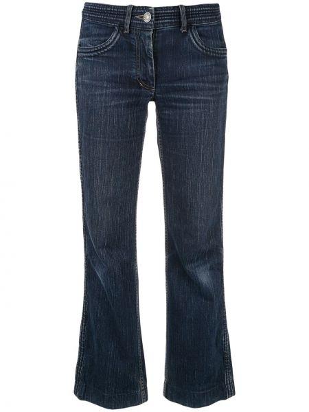 Прямые синие укороченные брюки с вышивкой Céline Pre-owned