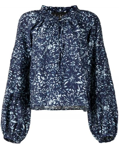 Niebieska bluzka z długimi rękawami bawełniana Nicole Miller