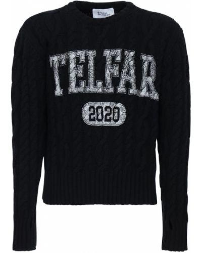 Prążkowany czarny z kaszmiru sweter Telfar