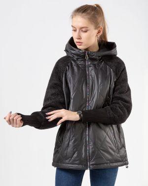 С рукавами черная куртка Button