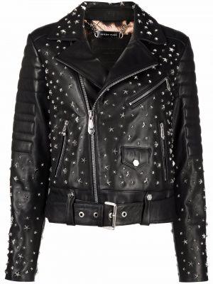 Кожаная куртка длинная - черная Philipp Plein