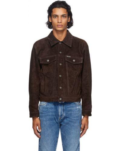 Zamsz brązowy długa kurtka z kołnierzem z kieszeniami Off-white