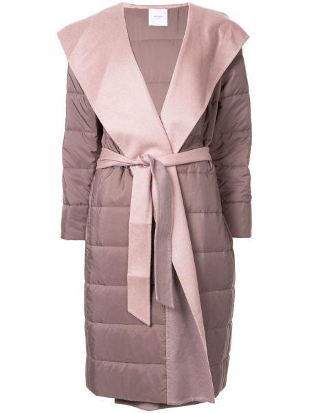 Фиолетовое кашемировое длинное пальто с капюшоном Agnona