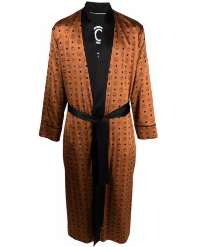 Шелковый халат - коричневый Mcm