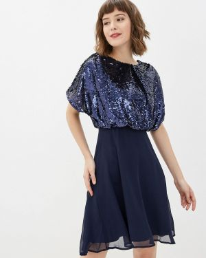 Вечернее платье осеннее синее Yumi
