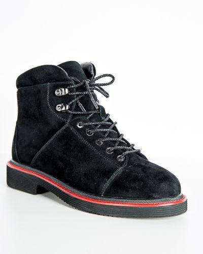 Брендовые черные кожаные ботинки Sidestep
