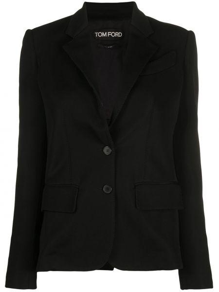 Однобортный черный удлиненный пиджак с карманами Tom Ford