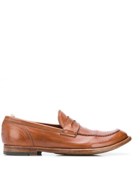 Brązowy z paskiem skórzany loafers okrągły Officine Creative