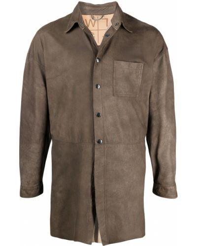 Brązowa klasyczna koszula z długimi rękawami skórzana Giorgio Brato