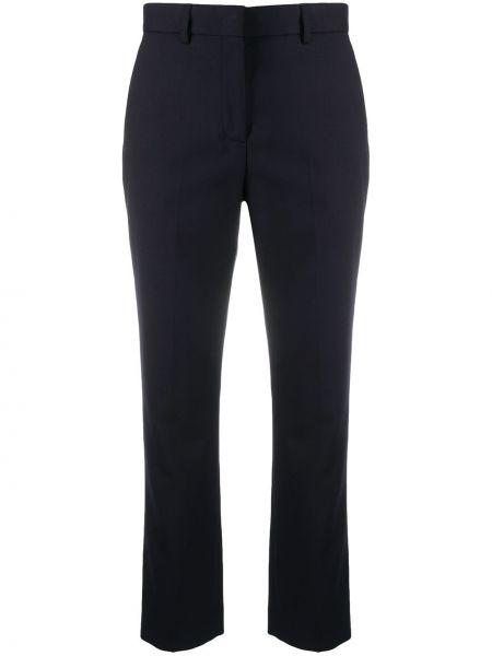 Шерстяные синие укороченные брюки узкого кроя Paul Smith