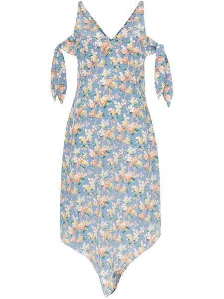 Синее шелковое асимметричное платье миди на молнии Delada