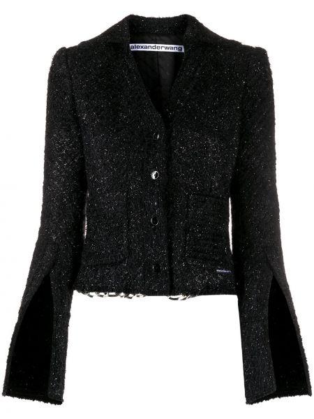 Nylon czarny długa kurtka z kieszeniami z długimi rękawami Alexander Wang