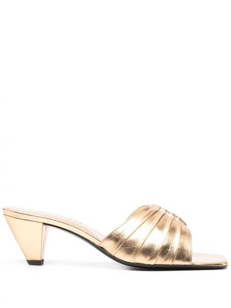 Złote sandały na obcasie Dorateymur