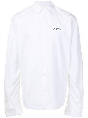 Белая классическая рубашка оверсайз с воротником Valentino