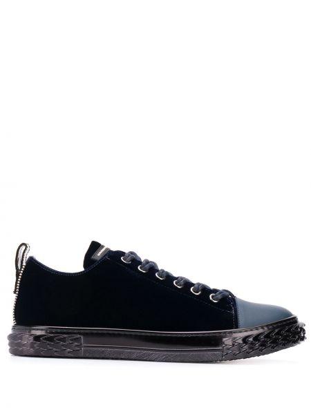 Niebieski ażurowy włókienniczy sneakersy zasznurować Giuseppe Zanotti