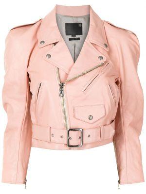 Розовая кожаная куртка байкерская R13