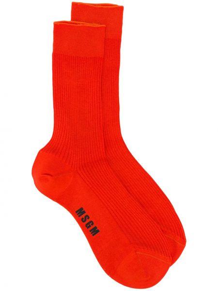 Оранжевые хлопковые носки в рубчик Msgm