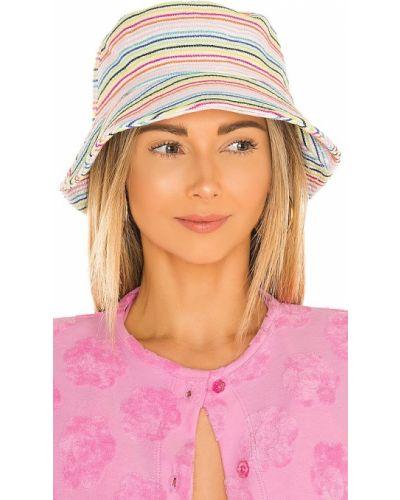 Biały kapelusz w paski Lele Sadoughi