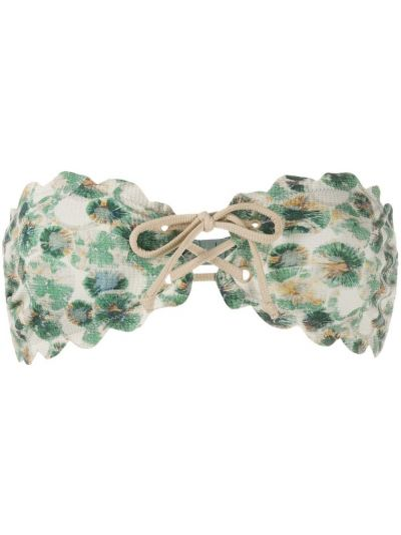 Зеленый ажурный топ на шнуровке для полных Marysia