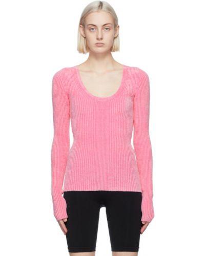 Z rękawami różowy długi sweter z kołnierzem Helmut Lang