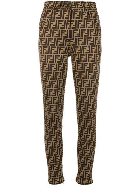 Хлопковые коричневые брюки Fendi