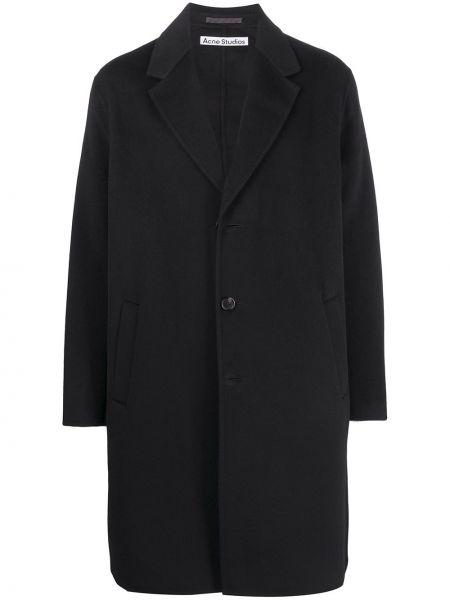 Прямое шерстяное черное длинное пальто Acne Studios
