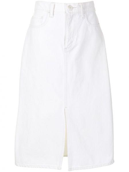 Прямая белая джинсовая юбка с разрезом Nobody Denim