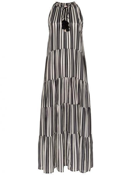 Czarna sukienka długa w paski z wiskozy Figue